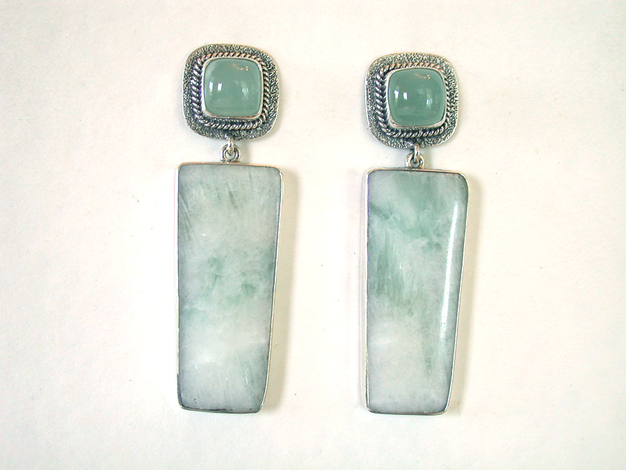 Amy Kahn Russell Online Trunk Show: Aquamarine & Kiwi Jasper Post Earrings | Rendezvous Gallery