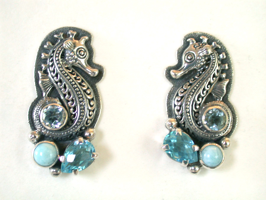 Amy Kahn Russell Online Trunk Show: Sterling Silver (Sea Horses), Blue Topaz & Larmar Clip Earrings | Rendezvous Gallery