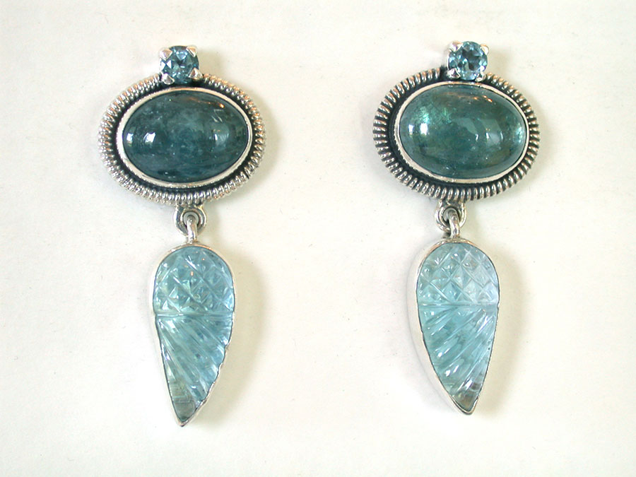 Amy Kahn Russell Online Trunk Show: Blue Topaz & Aquamarine Clip Earrings | Rendezvous Gallery
