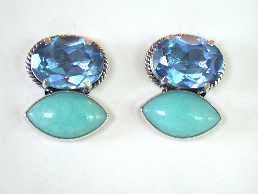 Amy Kahn Russell Online Trunk Show: Blue Quartz & Amazonite Clip Earrings | Rendezvous Gallery