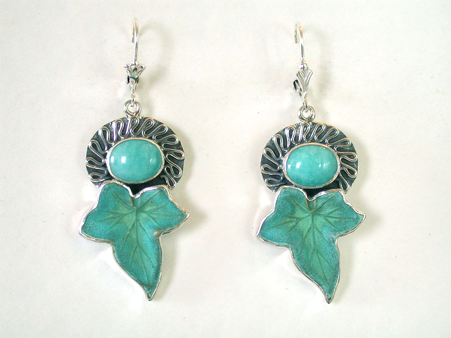 Amy Kahn Russell Online Trunk Show: Carved Amazonite & Brass Earrings | Rendezvous Gallery