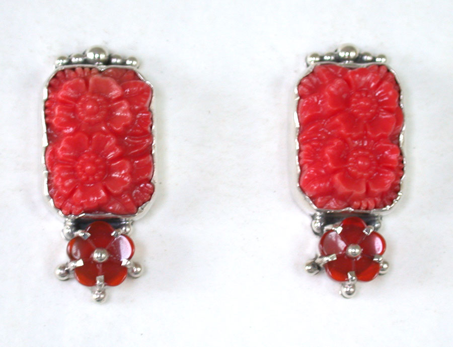 Amy Kahn Russell Online Trunk Show: Decorative Glass & Carved Carnelian Clip Earrings | Rendezvous Gallery