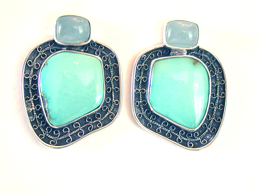 Amy Kahn Russell Online Trunk Show: Aquamarine & Turquoise Post Earrings | Rendezvous Gallery