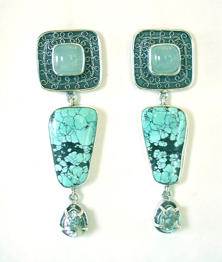 Amy Kahn Russell Online Trunk Show: Aquamarine, Turquoise & Blue Topaz Post Earrings | Rendezvous Gallery