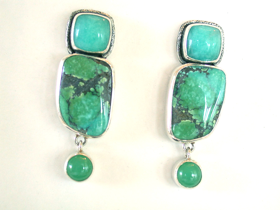 Amy Kahn Russell Online Trunk Show: Amazonite, Turquoise & Chrysoprase Clip Earrings | Rendezvous Gallery