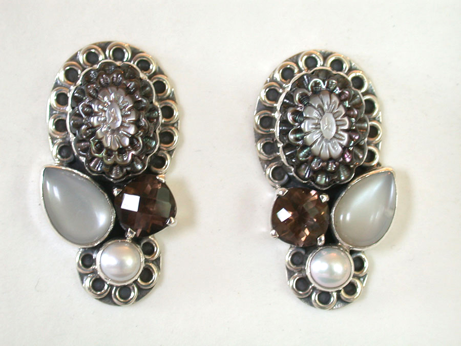 Amy Kahn Russell Online Trunk Show: Mother of Pearl, Freshwater Pearls & Quartz Clip Earrings | Rendezvous Gallery