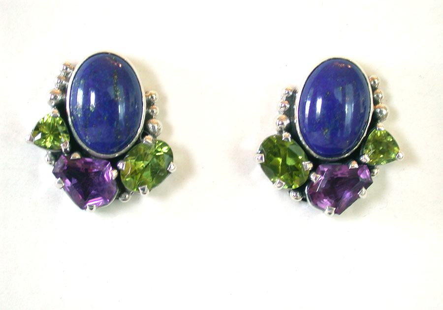 Amy Kahn Russell Online Trunk Show: Lapis Lazuli, Peridot & Amethyst Clip Earrings | Rendezvous Gallery