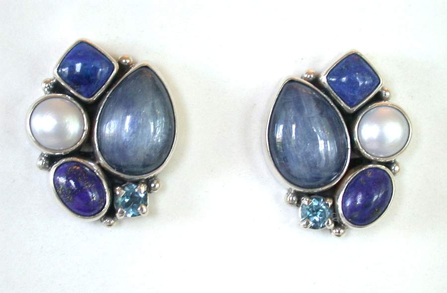 Amy Kahn Russell Online Trunk Show: Kyanite, Lapis Lazuli, Pearl & Blue Topaz Clip Earrings | Rendezvous Gallery