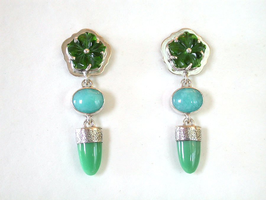 Amy Kahn Russell Online Trunk Show: Carved Glass, Amazonite & Chrysoprase Post Earrings | Rendezvous Gallery