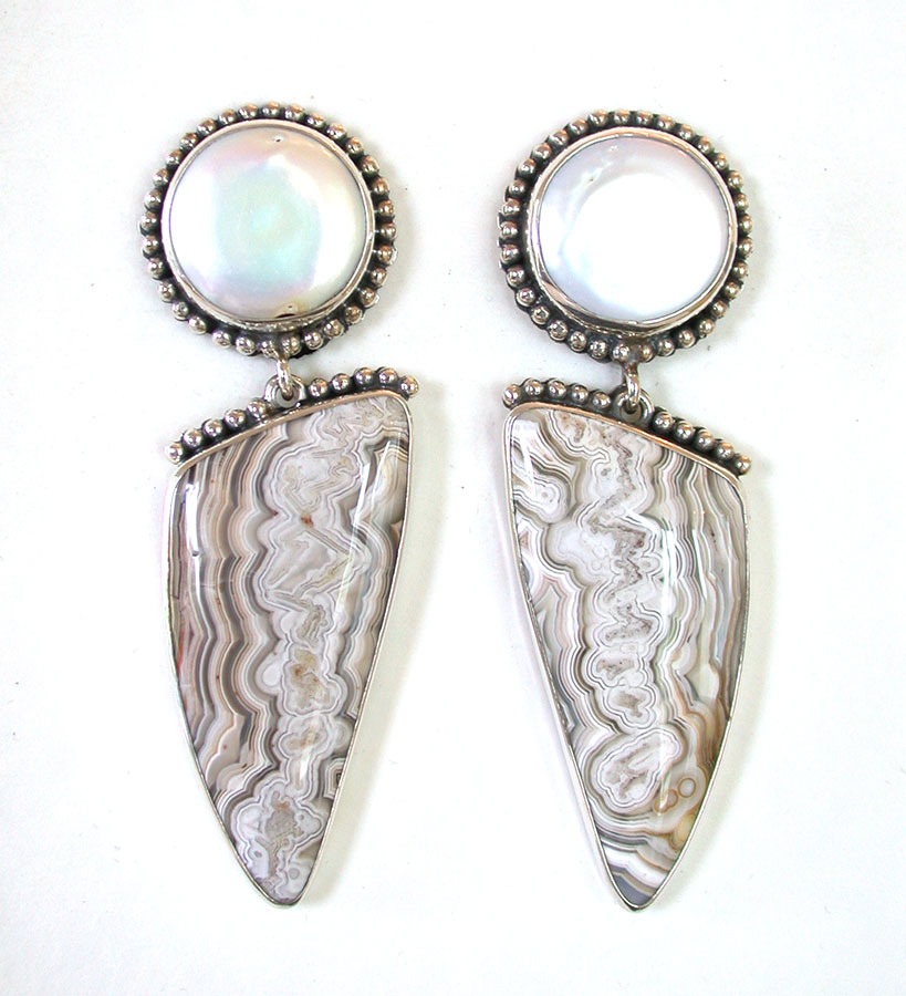 Amy Kahn Russell Online Trunk Show: Freshwater Pearl & Jasper Clip Earrings  | Rendezvous Gallery
