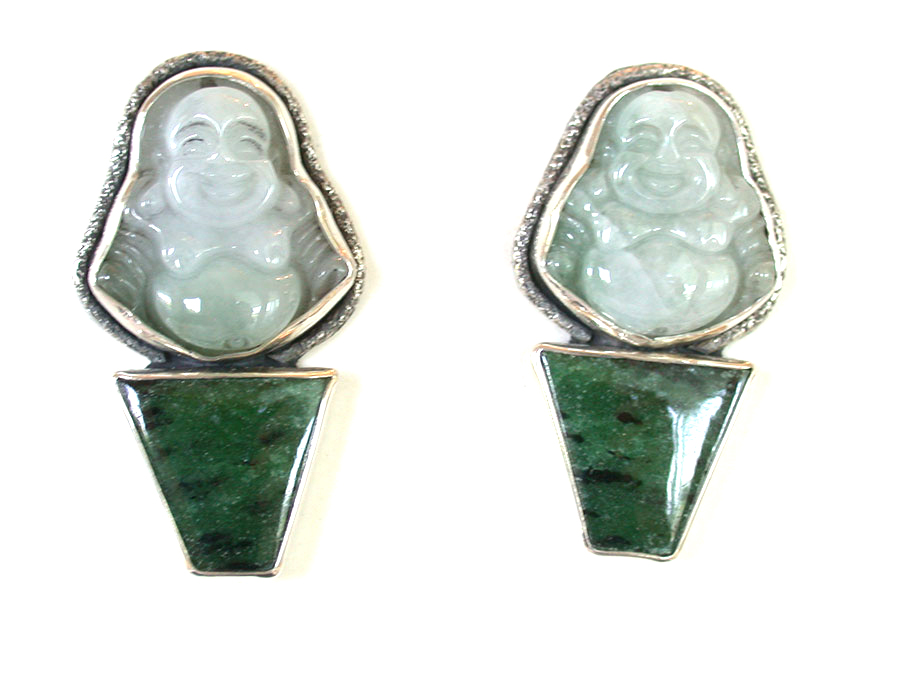 Amy Kahn Russell Online Trunk Show: Carved Jade & Ruby Zoisite Clip Earrings | Rendezvous Gallery