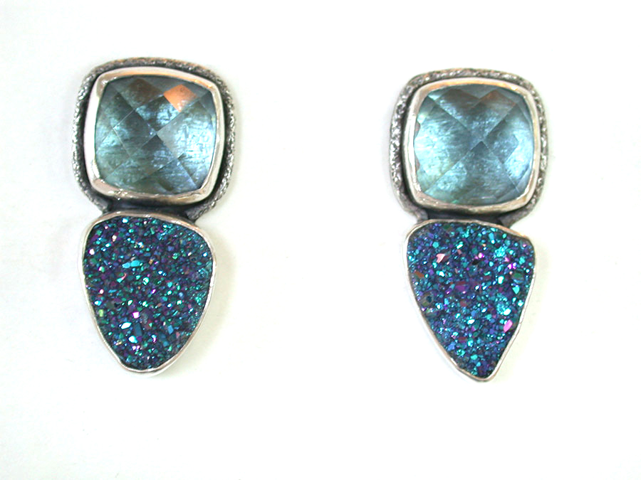 Amy Kahn Russell Online Trunk Show: uartz & Titanium-Plated Drusy Clip Earrings | Rendezvous Gallery