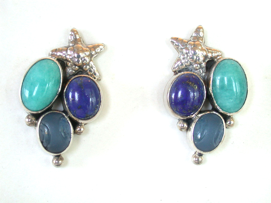 Amy Kahn Russell Online Trunk Show: Amazonite, Lapis Lazuli & Quartz Post Earrings | Rendezvous Gallery