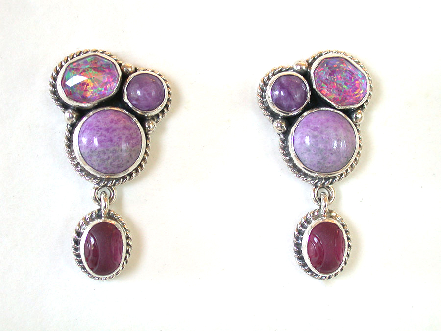 Amy Kahn Russell Online Trunk Show: Sugalite & Quartz Post Earrings | Rendezvous Gallery