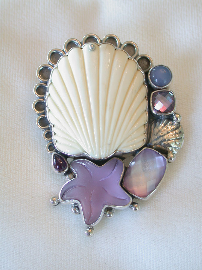 Amy Kahn Russell Online Trunk Show: Hand Carved Bone, Chalccedony, Amethyst & Quartz Pin/Pendant | Rendezvous Gallery