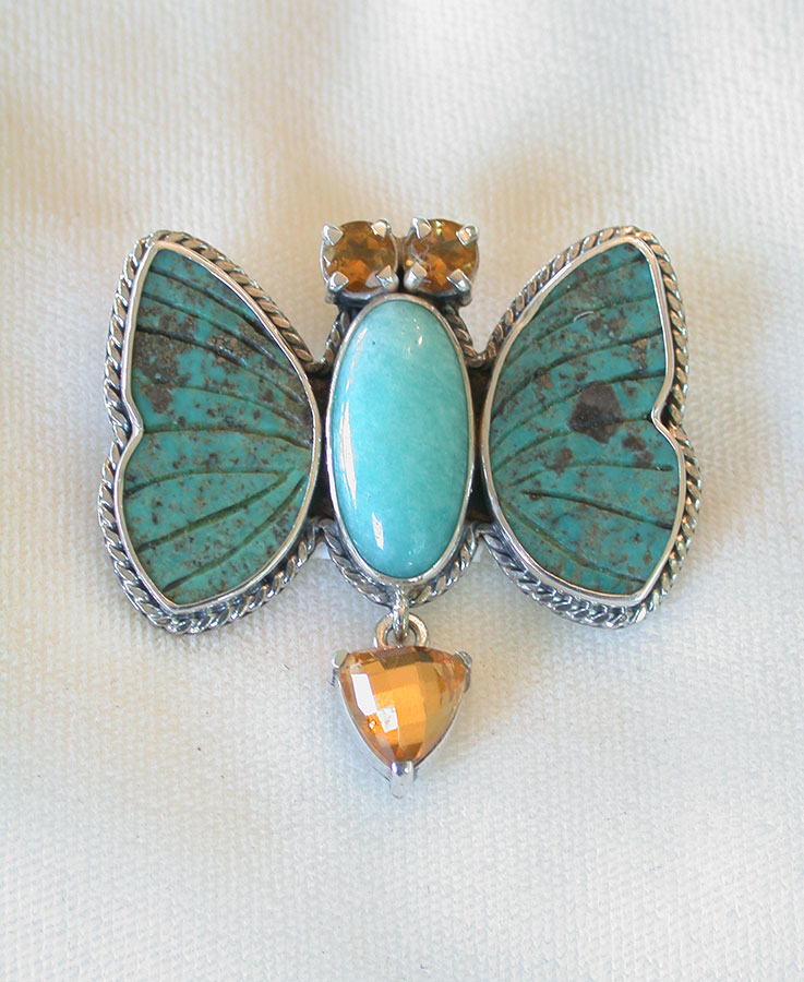 Amy Kahn Russell Online Trunk Show: Citrine, Turquoise & Amazonite Pin/Pendant | Rendezvous Gallery