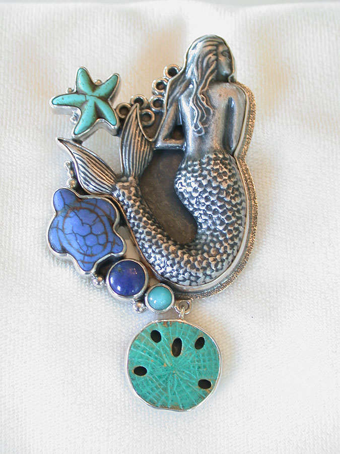 Amy Kahn Russell Online Trunk Show: Pewter (Mermaid), Amazonite & Lapis Lazuli Pin/Pendant | Rendezvous Gallery