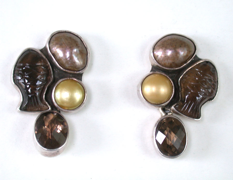 Amy Kahn Russell Online Trunk Show: Freshwater Pearl & Quartz Clip Earrings | Rendezvous Gallery