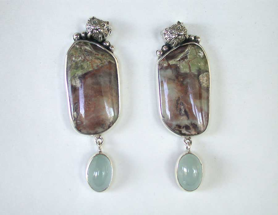 Amy Kahn Russell Online Trunk Show: Jasper & Aquamarine Clip Earrings | Rendezvous Gallery