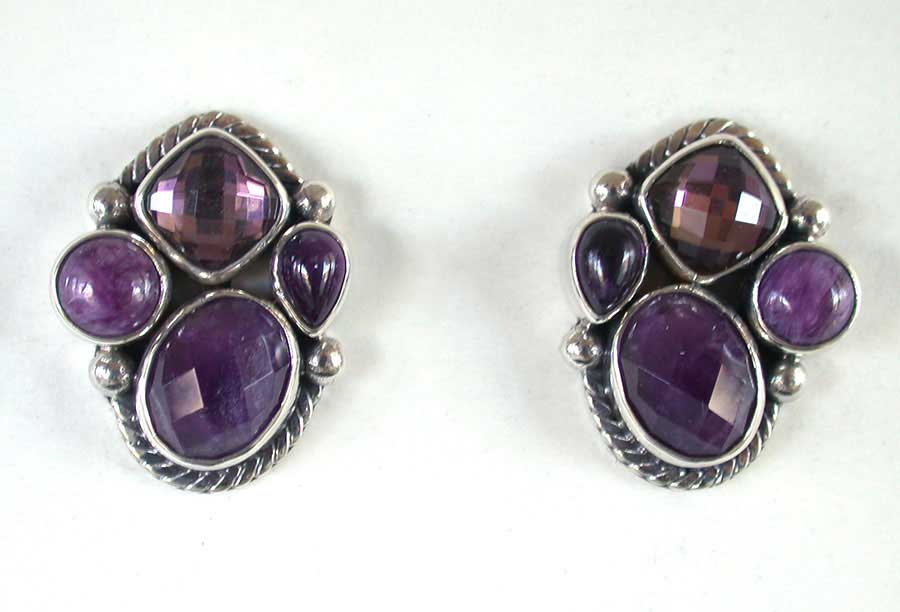 Amy Kahn Russell Online Trunk Show: Amethyst, Quartz & Sugalite Clip Earrings | Rendezvous Gallery