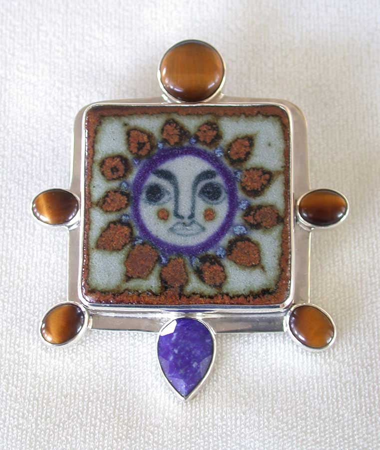 Amy Kahn Russell Online Trunk Show: Ceramic Tile, Tiger's Eye & Lapis Lazuli Pin/Pendant | Rendezvous Gallery