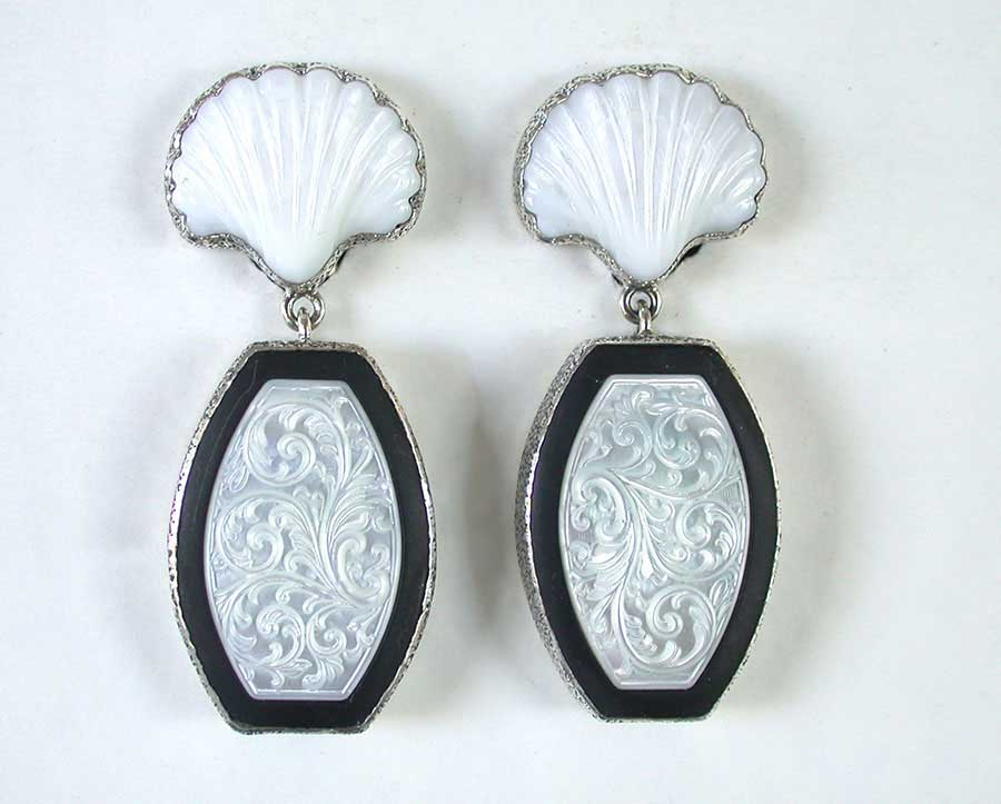 Amy Kahn Russell Online Trunk Show: Carved Mother of Pearl & Black Onyx Clip Earrings | Rendezvous Gallery