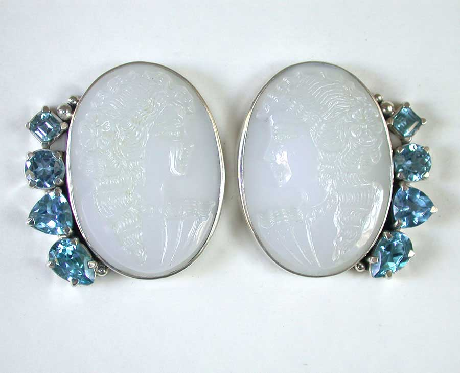 Amy Kahn Russell Online Trunk Show: Hand Carved Agate (Portraits) & Blue Topaz Clip Earrings | Rendezvous Gallery