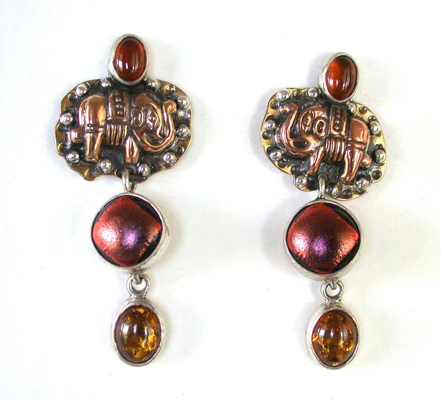 Amy Kahn Russell Online Trunk Show: Baltic Amber, Copper & Dichroic Glass Post Earrings | Rendezvous Gallery