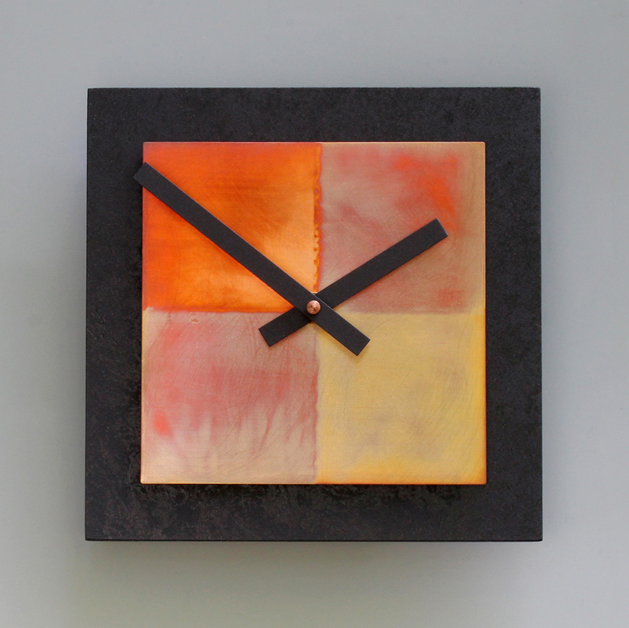 Leonie Lacouette: 8 x 8 Black & Copper Wall Clock | Rendezvous Gallery