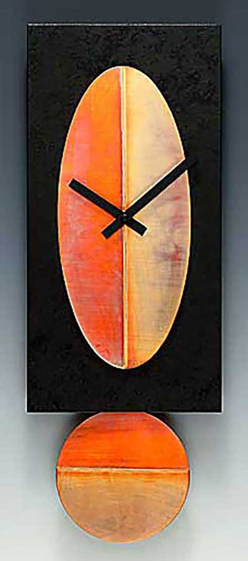 Leonie Lacouette: Black w/Copper Oval Pendulum Wall Clock | Rendezvous Gallery