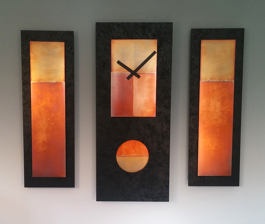Leonie Lacouette: Black/Copper Wall Clock or Triptych | Rendezvous Gallery