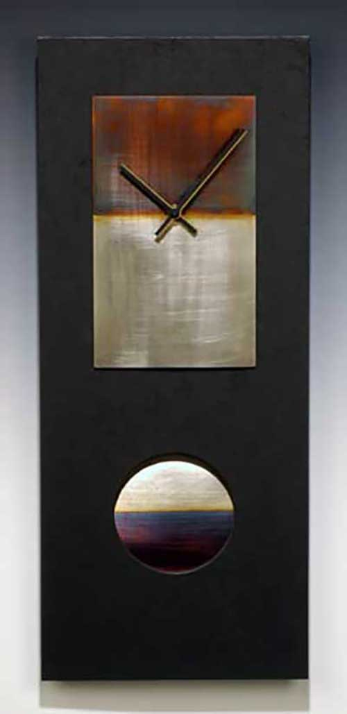 Leonie Lacouette: Black w/Nickel Silver Pendulum Wall Clock | Rendezvous Gallery