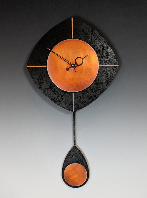 Leonie Lacouette: L-Drop (Black/Copper) Pendulum Wall Clock | Rendezvous Gallery
