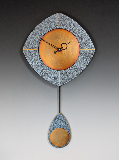 Leonie Lacouette: L-Drop (Blue/Copper) Pendulum Wall Clock | Rendezvous Gallery