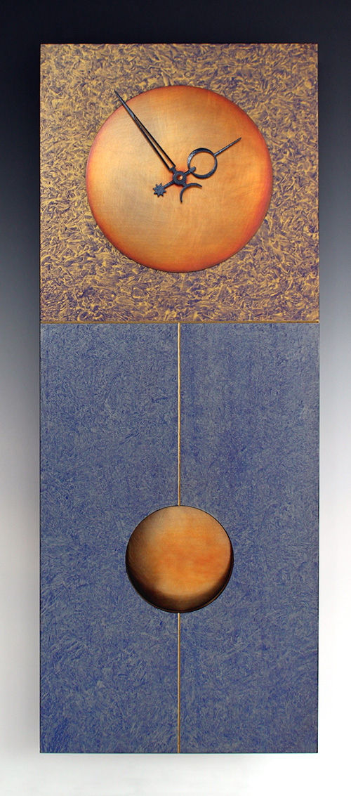 Leonie Lacouette: Jane (Blue/Gold) Pendulum Wall Clock | Rendezvous Gallery