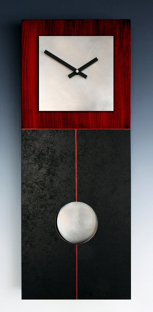 Leonie Lacouette: Jane (Red/Black) Pendulum Wall Clock | Rendezvous Gallery