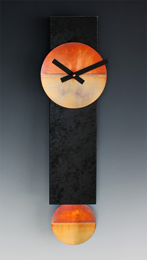Leonie Lacouette: Narrow (Black/Copper) Pendulum Wall Clock | Rendezvous Gallery