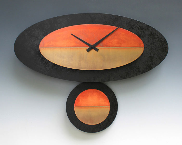 Leonie Lacouette: Stand-Alone (Black/Copper) Pendulum Wall Clock | Rendezvous Gallery
