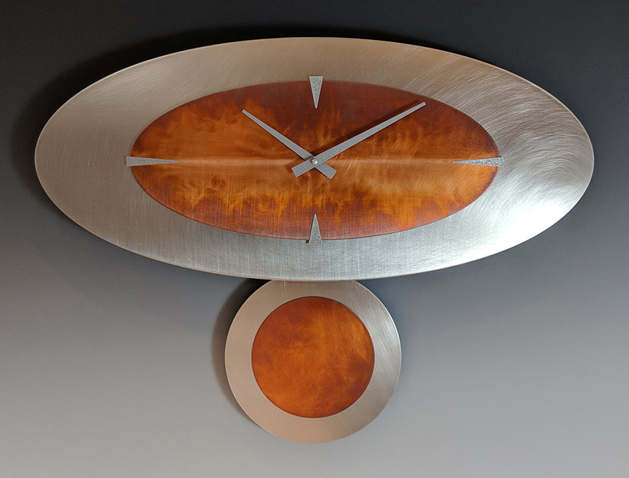 Leonie Lacouette: Stand-Alone (Steel/Copper) Pendulum Wall Clock | Rendezvous Gallery