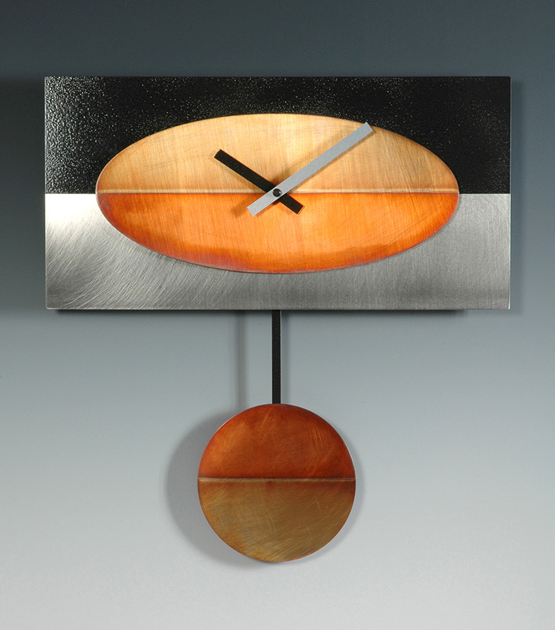 Leonie Lacouette: Steel/Black/Copper Oval Pendulum Wall Clock | Rendezvous Gallery