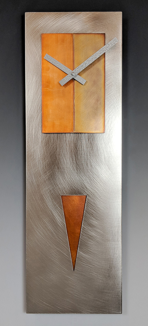 Leonie Lacouette: Spike (Steel/Copper) Pendulum Wall Clock | Rendezvous Gallery