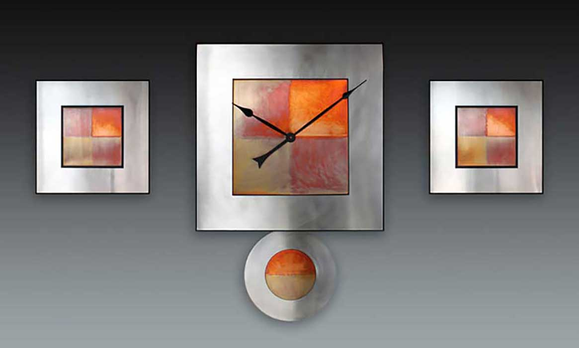 Leonie Lacouette: Steel/Copper Square Pendulum  Wall Clock or Triptych | Rendezvous Gallery