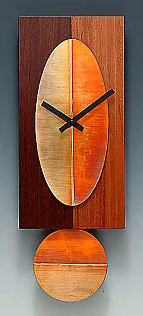 Leonie Lacouette: Two-Tone Cherry 16-inch Pendulum Wall Clock | Rendezvous Gallery