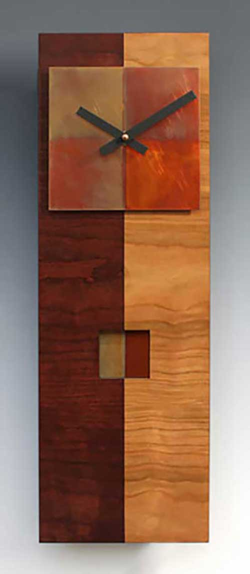 Leonie Lacouette: Two-Tone Cherry Narrow Pendulum Wall Clock | Rendezvous Gallery
