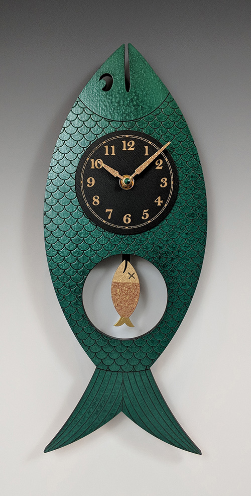 Leonie Lacouette: Wanda (Green) Pendulum Wall Clock | Rendezvous Gallery