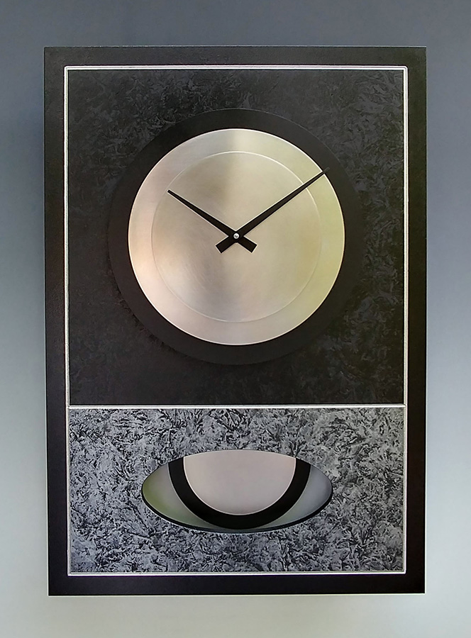 Leonie Lacouette: Walid (Black& Silver) Pendulum Wall Clock | Rendezvous Gallery