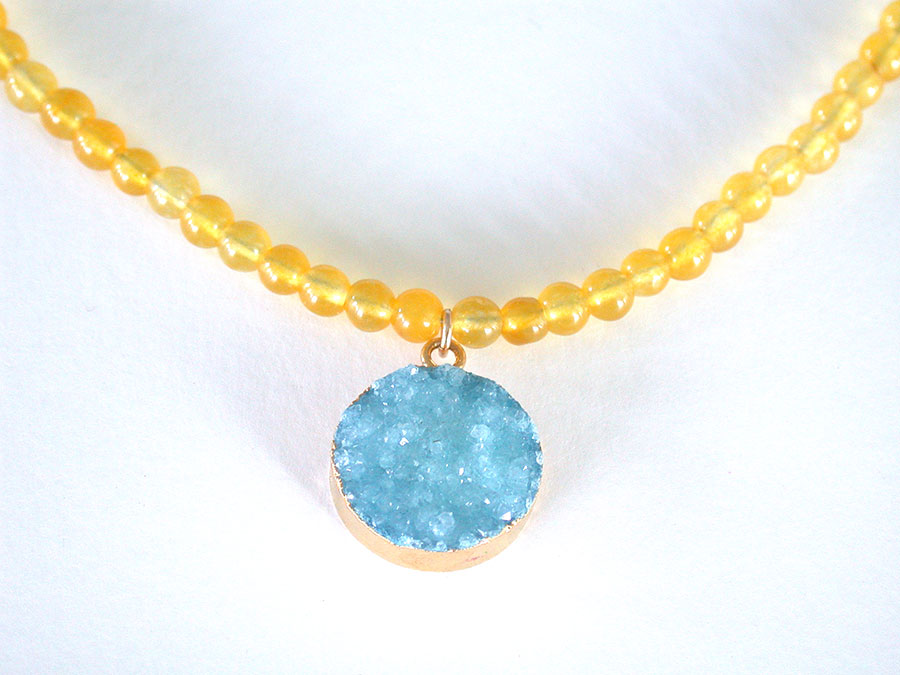 Nance Trueworthy: Drusy & Yellow Jade Necklace | Rendezvous Gallery