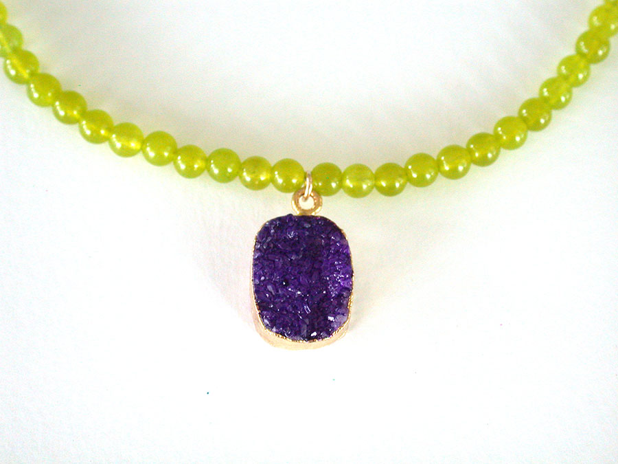 Nance Trueworthy: Drusy & Lime Green Jade Necklace | Rendezvous Gallery