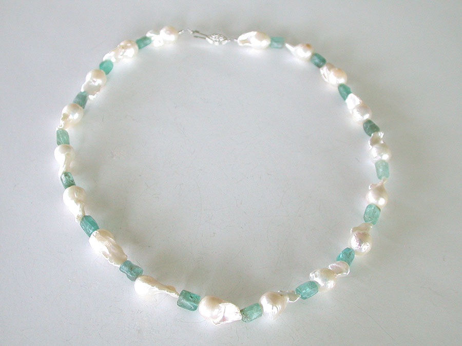 Nance Trueworthy: Baroque Pearl & Apatite Necklace | Rendezvous Gallery